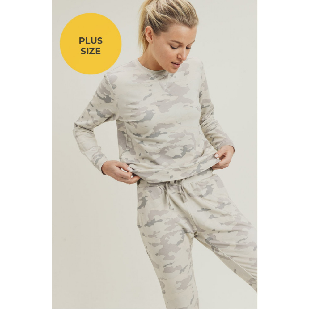 Snow Camo Pullover & Drawstring Joggers Plus Size