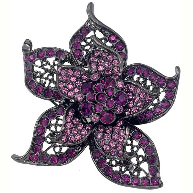Gem Dandy Large Purple Flower Brooch