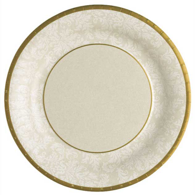 Golden Jacquard Paper Cocktail Plates