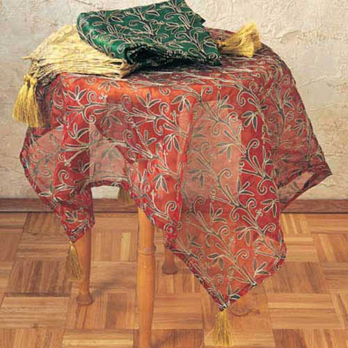 "Gold Embroidered Metallic Tablecloth 60""Sq"