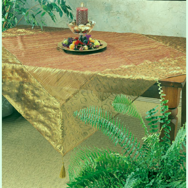 "Gold Crushed Tissue Tablecloth 60""Sq"