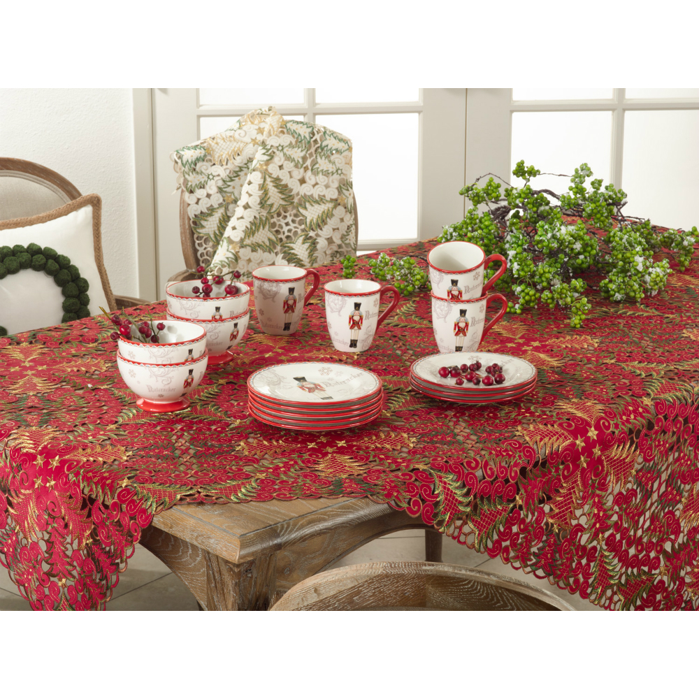 Xmas Tree Cutwork Tablecloth 67sq