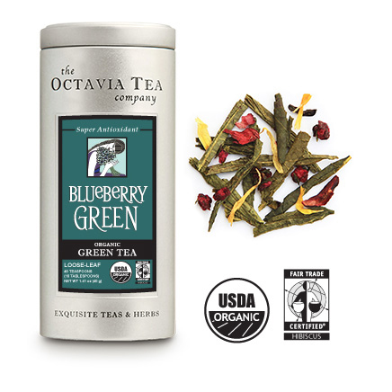 BLUEBERRY GREEN Organic, Fair Trade Green Tea Tin