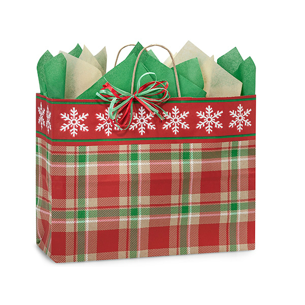 Christmas Plaid Paper Tote 16""