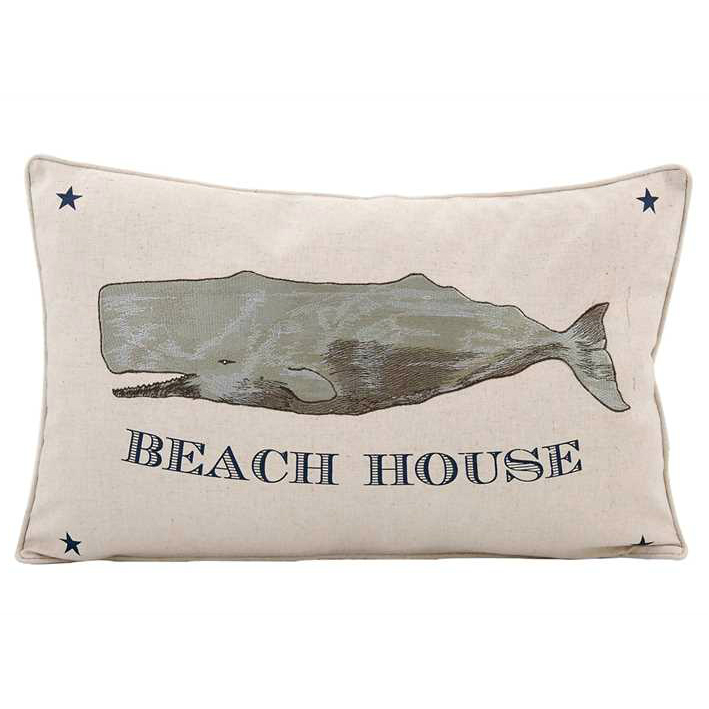 """Beach House"" Pillow w/ Whale"