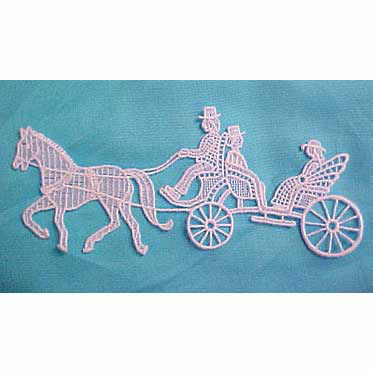 Horse & Carriage Giupure Lace Motif