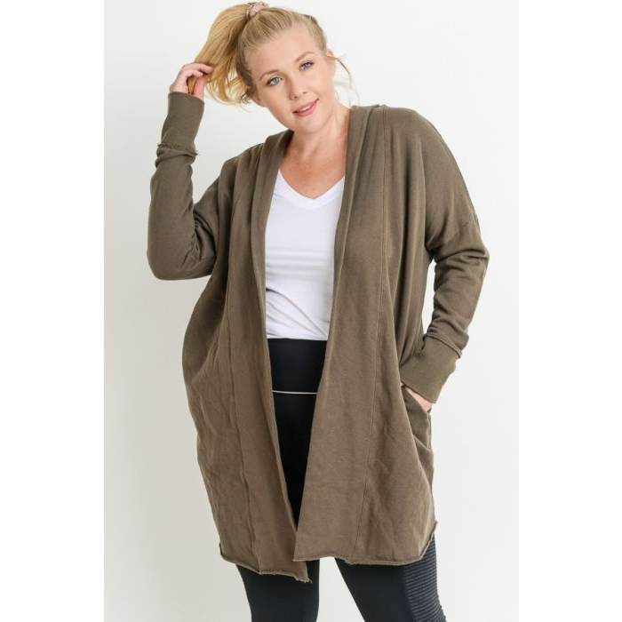 Open Front Longline Hoodie Cardigan Olive