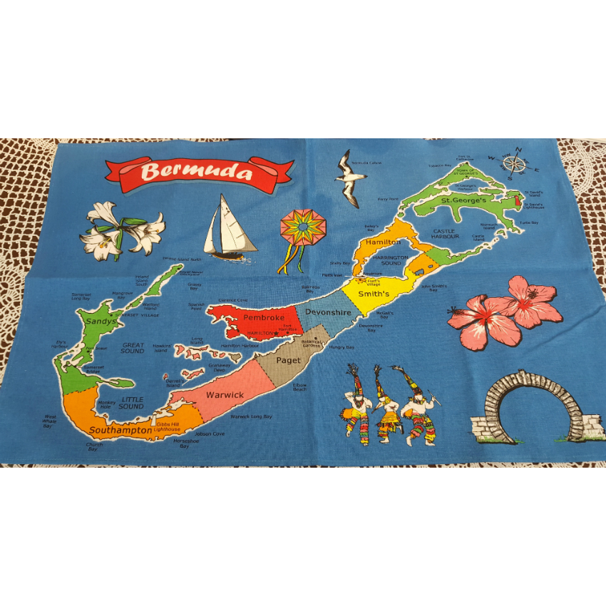 Bermuda Map Irish Linen Tea Towel
