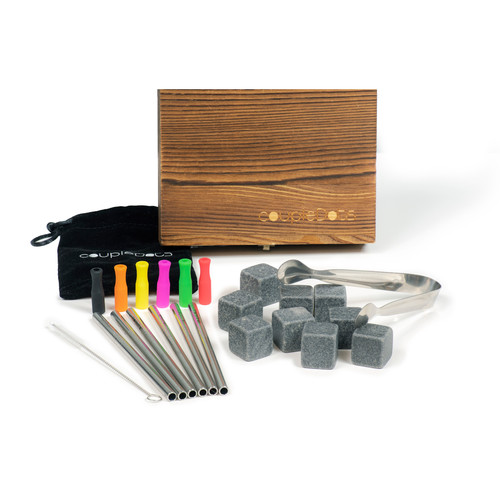 Whiskey Stones and Stainless Steel Straw Set